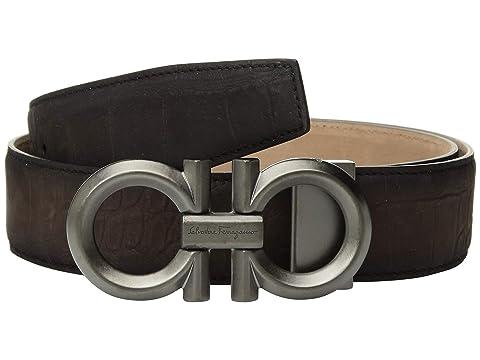 Salvatore Ferragamo Adjustable Stamped Calf/Croc Double Gancini in Graphite