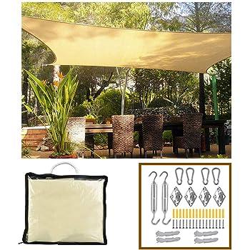 XLINGZ Rectangular Toldo Protección Solar Pergola Accesorios de MontajeTodo Incluído Playa - Beige 2x5m: Amazon.es: Hogar
