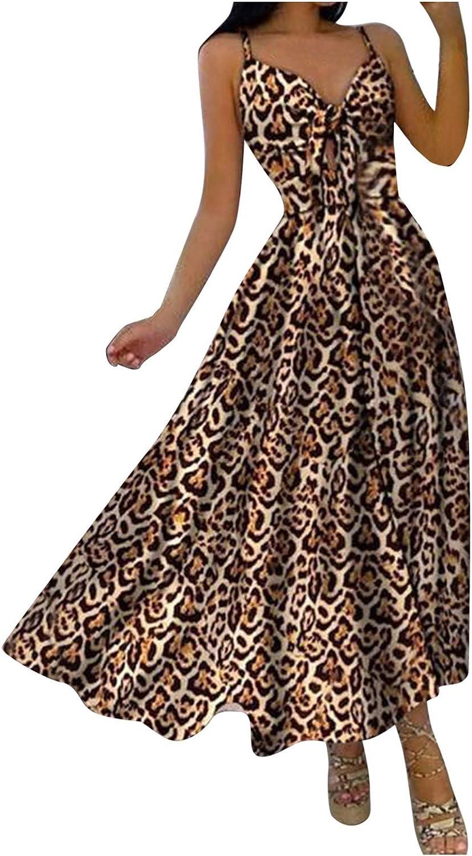 Women's Cami Dress Spaghetti Strap Sexy Midi Long Dress Elegant A-Line Swing Holiday Beach Sundress Vestidos