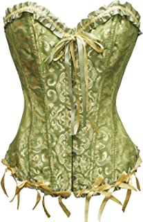 Zanuce Women's Sexy Satin Boned Lace Up Overbust Plus Size Corsets Bustier
