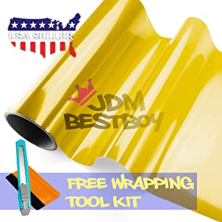 1FT x 5FT Glossy Light Black Smoke Tint Headlight Fog Lights Taillight Vinyl Film Self Adhesive JDMBESTBOY Free Tool Kit 12x60