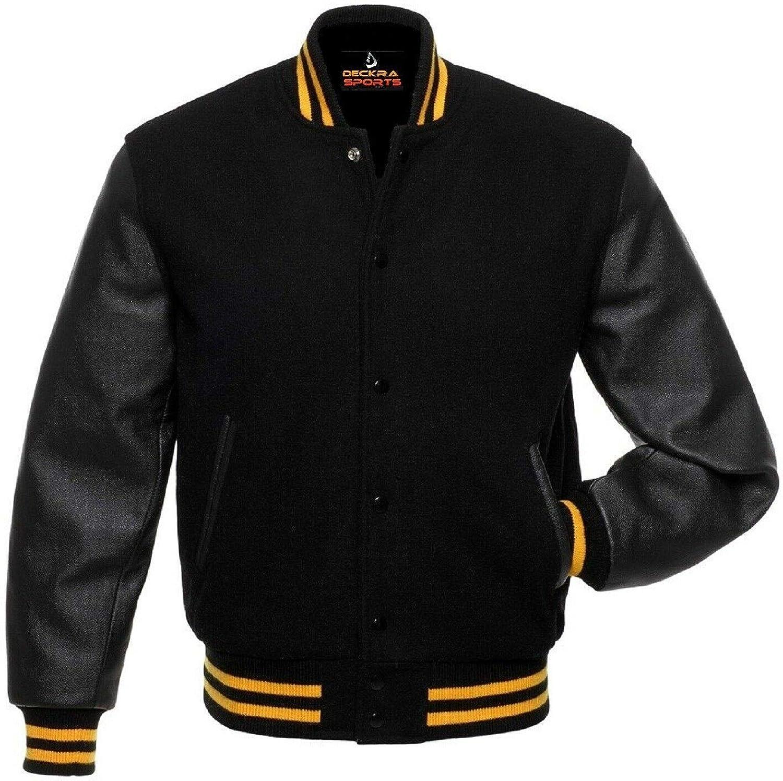 お得 Women Varsity お得セット Jacket Genuine Leather Blend Sleeve Wool Lette and
