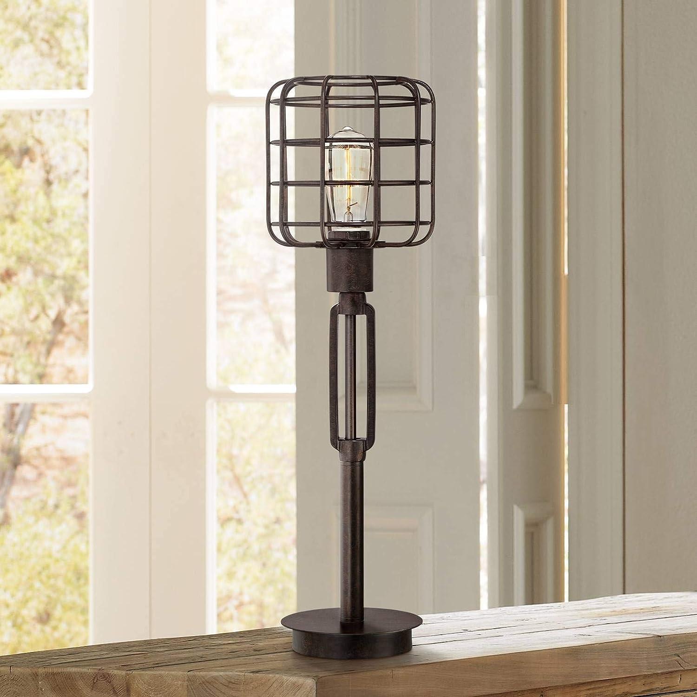 Industrial Modern Desk discount Table Rare Lamp Bronze Antique Edis Cage Shade