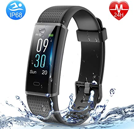 HolyHigh Smart Bands,Fitness Watch IPX68 Waterproof Colorful Screen Heart Rate Sleep Monitor Pedometers Calorie Counter Call Messages Alarm Reminder Reject Call for Men Women Boys Kids