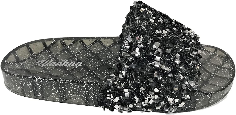 Weboo Jelly-01 Open Toe Slides Sequin Glitter Sparkle Flip Flops Sandals Black