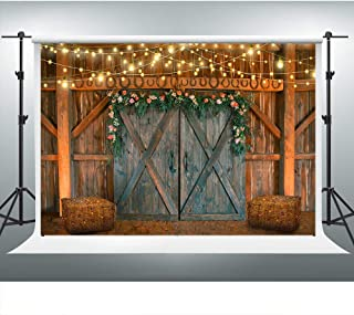 Rustic Barn Backdrop for Farm Theme Party 10x7ft Barn Door Hay Lights Rural Background Western Cowboy Photo Booth Studio Props LSVV858