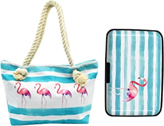 Beach Bag Tote Handbag Women Hobo Bag Travel Shopping Bag with Credit Card Holder Set