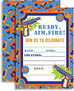 Dart Gun Birthday Party Invitations, 20 5