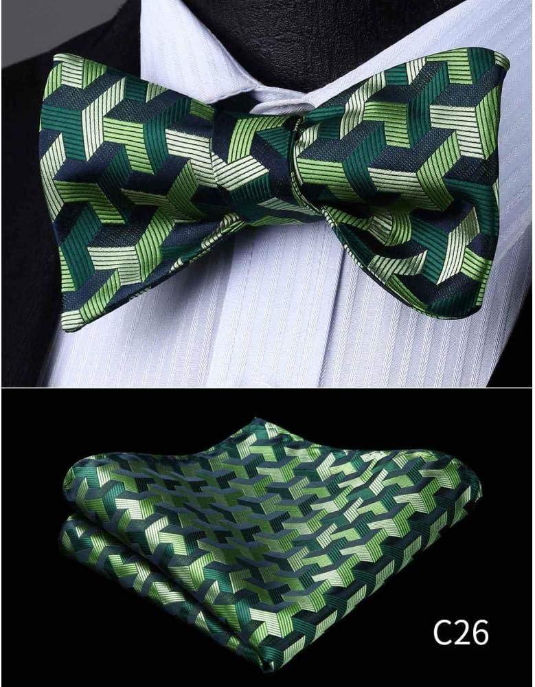 ZXCVBN Men Check Plaid Silk Bow Ties Jacquard Woven Men Butterfly Self Pocket Square Handkerchief Suit Set