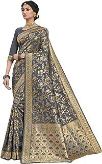 Indian Traditional Gujarati Soft Art Silk sari Woman Zari Weaving Jaal Body Party Wedding Saree Blouse 6243