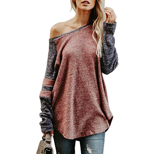 Fantastic Zone Women s Off The Shoulder Skew Neck Long Sleeve Curved Pullover  Sweater 45101d610