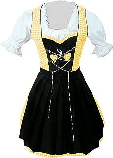 Women-s Di04,3 Piece Mini Dirndl-s Dress-ES, Drindle-s Blouse, Apron, Sizes 4-22