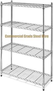 Koonlert@shop Commercial Grade NSF 4-Tier Steel Shelving Storage Office Garage Kitchen Closet Organizer Adjustable Durable Constructed Wire Shelf - Chrome Finish #1166