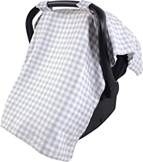 Hudson Baby Reversible Car Seat Canopy, Gray Gingham, One Size