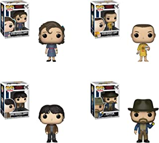 Funko Pop! Television Stranger Things Season 3 Set of 4: Mike at Dance, Eleven at Dance, Eleven in Burger T-Shirt and Hopper with Flashlight