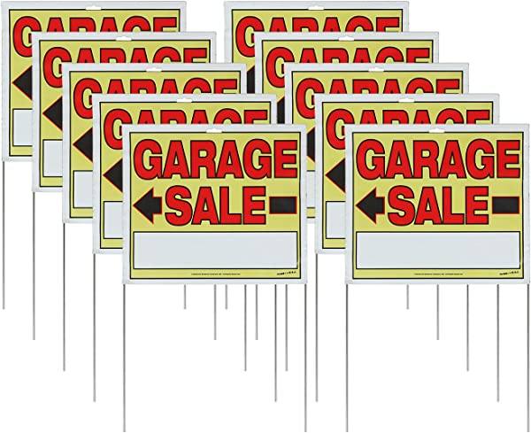 Sunburst Systems 22 H X 14 W Double Sided Garage Sale Signs With Wire U Stakes 10 Pack