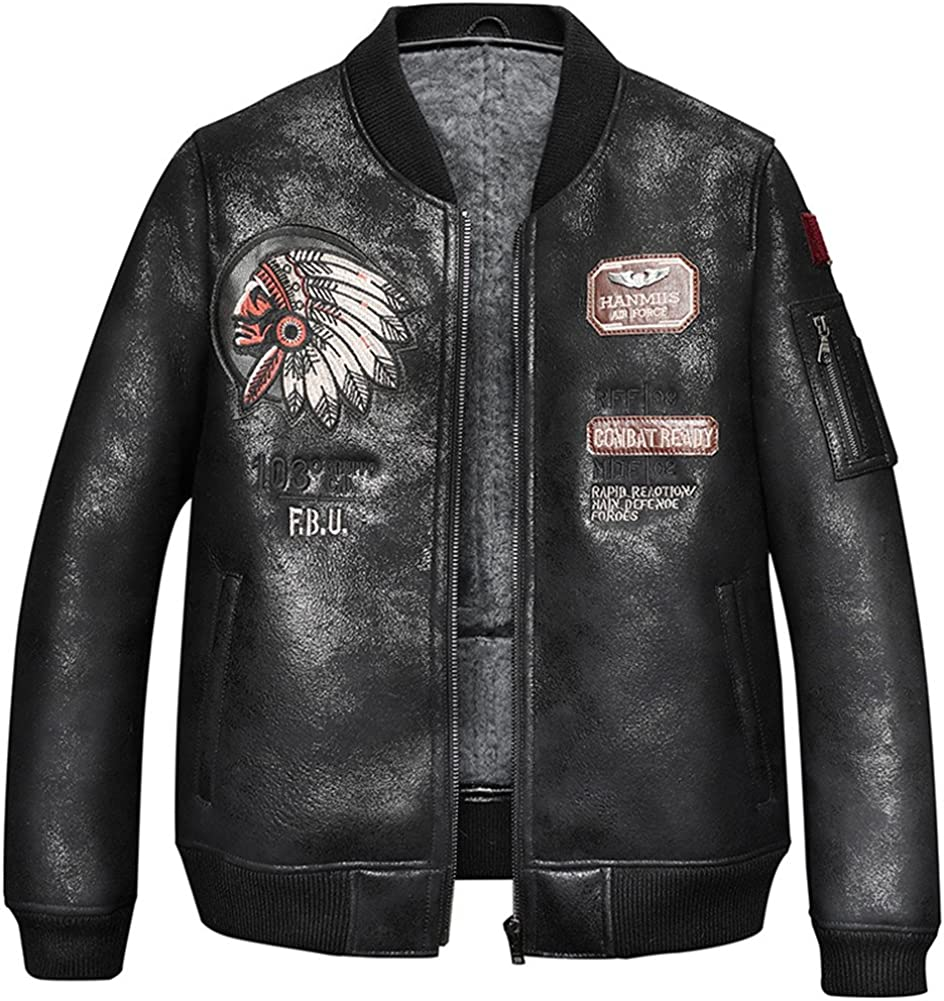 Denny&Dora Mens Short Shearling Sheepskin Jacket B3 Bomber Clothing Camouflage Black Leather Coat