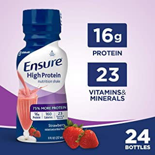 Ensure High Protein Nutritional Shake with 16g of High-Quality Protein, Ready-to-Drink Meal Replacement Shakes, Low Fat, Strawberry, 8 fl oz, 24 Count