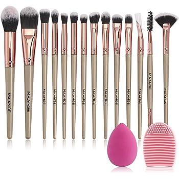 MAANGE Brochas de Maquillaje Professional 14 Piezas Premium Suaves y Firmes Brochas para Maquillaje Practicas Brochas para Ojos y Brochas Faciales Maquillaje Kabuki (Champán)