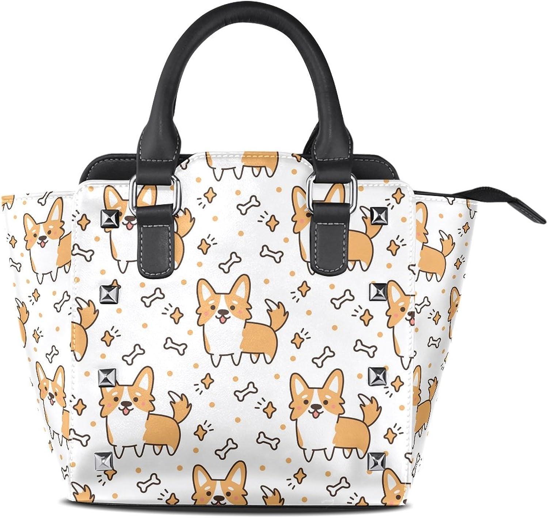 My Little Nest Women's Top Handle Satchel Handbag Cute Corgi Dogs Ladies PU Leather Shoulder Bag Crossbody Bag
