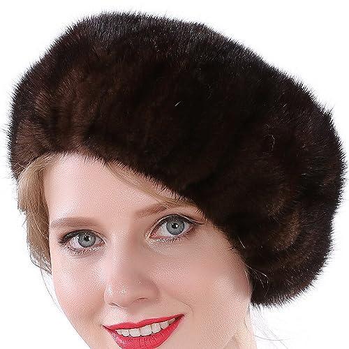 Valpeak Women Winter Berets Real Mink Tail Fur Hat 4055f2082d4b