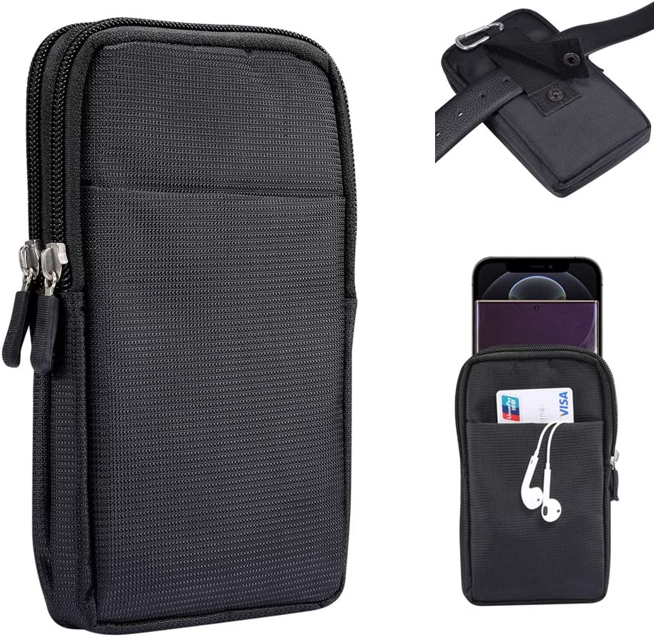 Zipper Oxford Dual Cell Phone Pouch Belt Holster Case with Clip/Loop Waist Wallet Bag for Motorola Moto G Power,G8 Plus/ Samsung Galaxy S20 Plus,S20,Note 20,A71,A51/ LG Stylo 5/ OnePlus 7T,8,8T(Black)