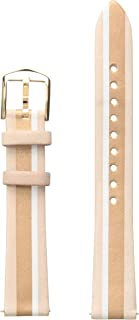 Fossil Women's 16mm Leather Watch Band, Color: Beige Striped (Model: S161070)