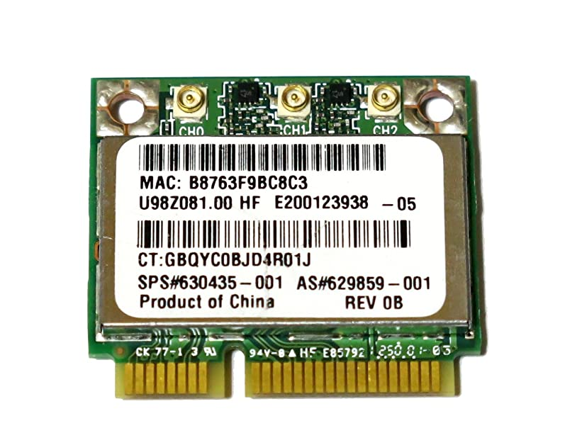 祝福空中香水HP純正+汎用 Atheros AR5BHB112(AR9380) 450Mbps 3T3R 802.11a/b/g/n 無線LANカード 630435-001