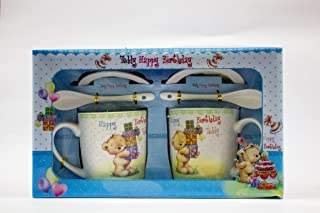 ShopKooky Ceramic Gift Boxes Attractive Teddy Cartoon Character Printed Ceramic Cups with Lid & Spoon | Specially Designed...
