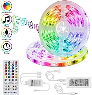 LED Strip Lights Sync to Music KOOVON 32.8ft Light Strip Built-in IC 300 LEDs 5050 Tape Strip Lights Color Changing Flexible Strip Lights Waterproof with RF Remote for Home Kitchen TV Bar Decoration