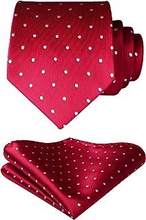 Men's Plaid Dots Tie Woven Classic Necktie & Pocket Square Set