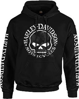 Harley-Davidson Military - Men's Black Skull Graphic Pullover Hoodie - Overseas Tour   Handmade Willie