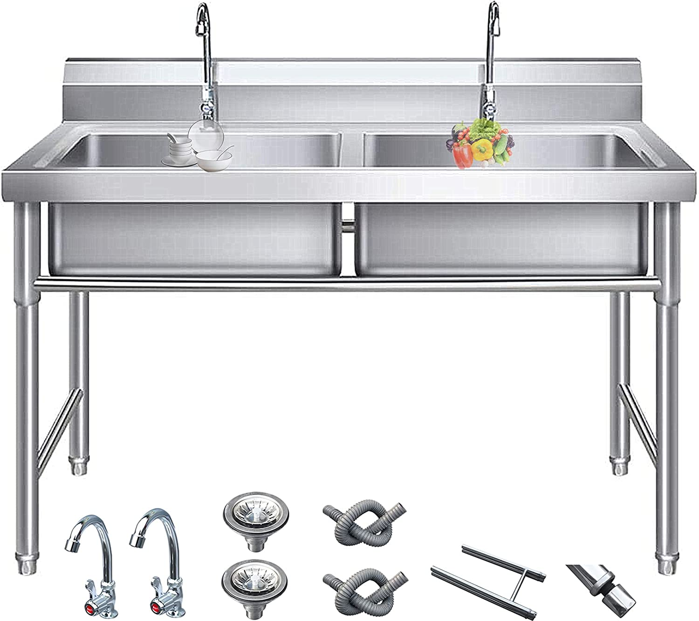 Un solo cuenco/doble tazón de doble tazón de 1,0 mm Fregadero de acero inoxidable de acero inoxidable con soporte,tap y tapón de plugas,fregaderos de cocina de pie para los lavamanos,120x60x80cm