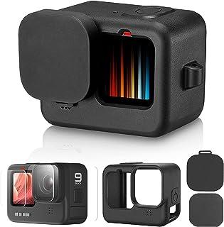Lammcou Vervangende Siliconen Beschermhoes Compatibel met GoPro Hero 9 Zwarte Siliconen Hoesaccessoires + Gehard Glazen Sc...
