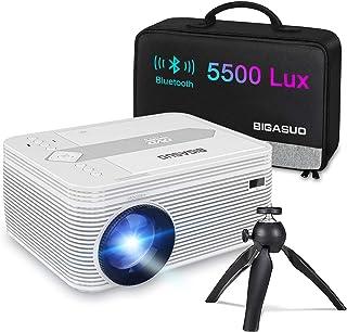 """Proyector, BIGASUO Mini Proyector, Soporte HD 1080P Proyector Bluetooth portátil con DVD, Pantalla de 200"""", Proyector de Cine LED 55,000H con trípode, Compatible con TV Sticks, PS4, USB y Micro SD"""