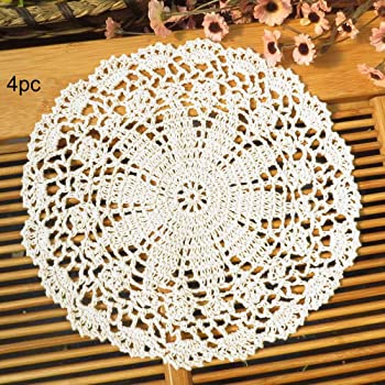 kilofly Crochet Cotton Lace Table Placemats Doilies Value Pack, 4pc, Persia, White, 10 inch