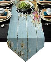 Vandarllin Cotton Linen Table Runner Dresser Scarves Beach Theme Seashells&Blue Rustic Wood Non-Slip Burlap Table Setting Decor for Wedding Party Holiday Dinner Home, 13