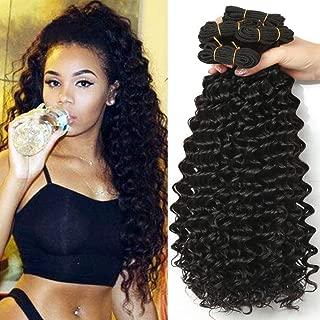 Shireen 8A Malaysian Deep Wave 3 Bundles Malaysian Curly Weave Human Hair 100% Unprocessed Virgin Human Hair Weft Extensions Natural Black Color(100+/-5g)/pc (10'' 12'' 14'')