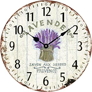 "Wooden 12"" Wall Clock Atomic Retro American Lavender Pattern Roman Number Quite Silent Non-Ticking Hand Room Decorative Wall Kids Room"