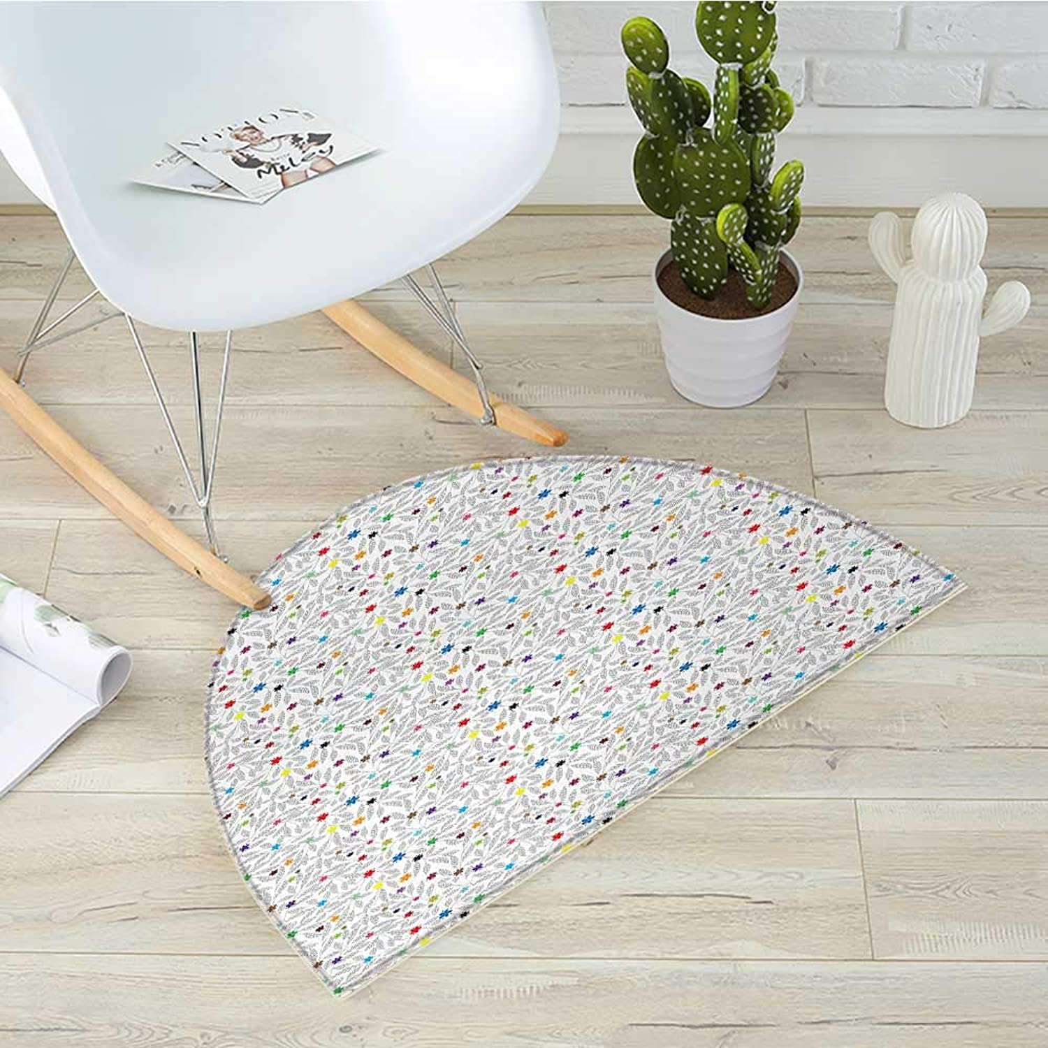 Floral Semicircle Doormat Black and White Leaves with Lively colord Little Blossoms Artful Hand Drawn Style Halfmoon doormats H 43.3  xD 64.9  Multicolor