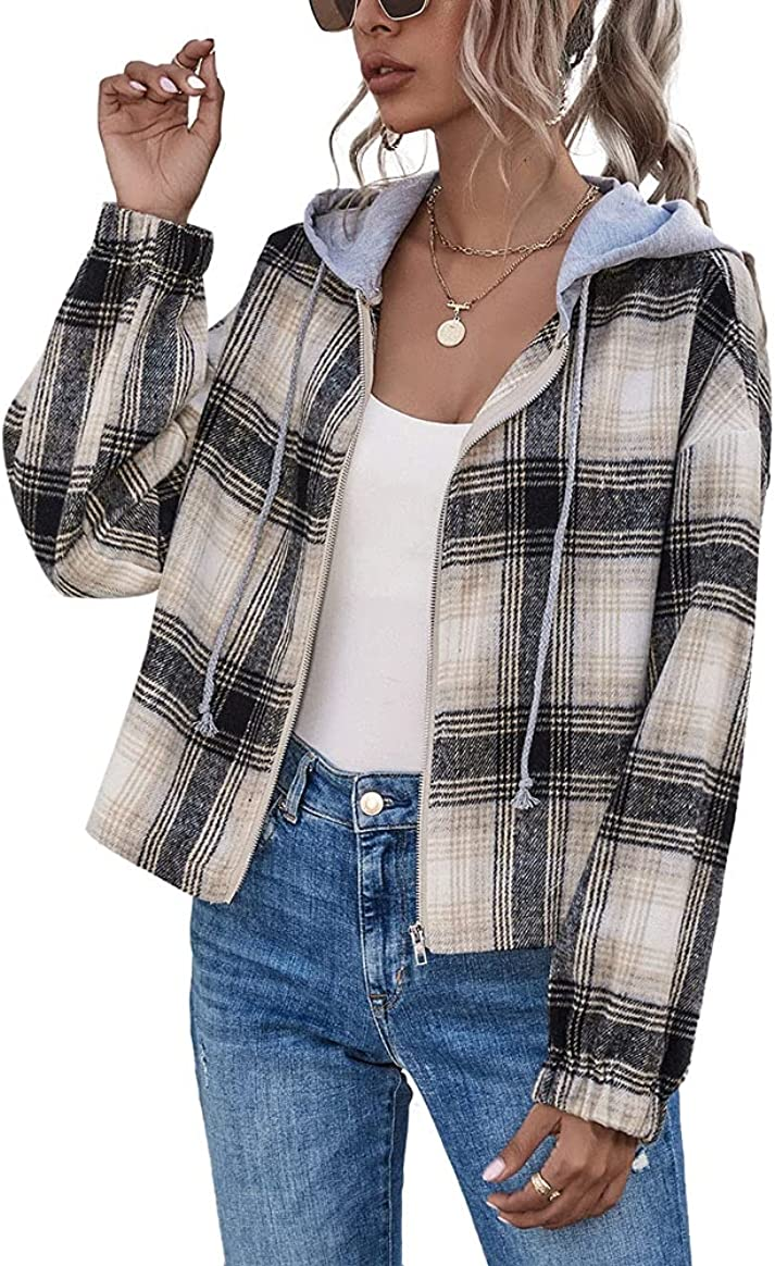chouyatou Women's Casual Zip Up Cropped Plaid Flannel Jacket Coat Shacket with Hood