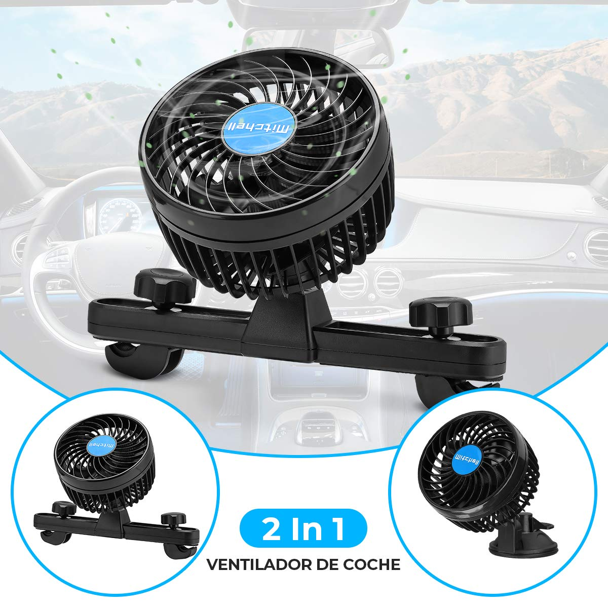 Amazon.es: Ventilador Coche Mechero Portatil Electrico Silencioso 12V Mini Fan de 360 Grados Rotativo 2 Soportes ...