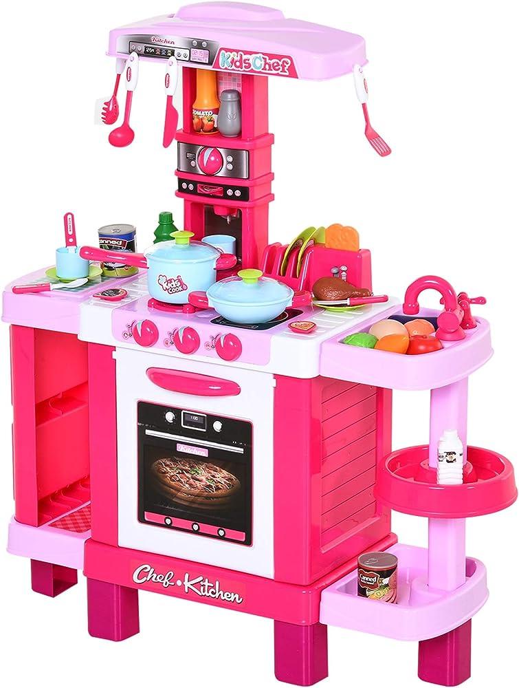Homcom, cucina giocattolo per bambini, con 38 accessori inclusi,  con luci e suoni realistici IT350-0470631