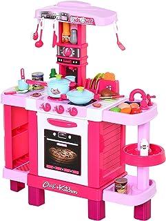 HOMCOM Cuisine pour Enfant Recettes Jeu d'imitation 38 Accessoires Inclus Sons et lumières polypropylène Rose