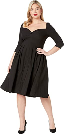 Plus Size 1950s Style Bengaline Sweetheart Lamar Swing Dress