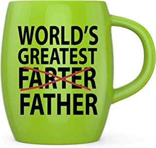 Basic Needs Ceramic Coffee Mug - Worlds Greatest Farter Father - Novelty Drinkware Cups - Perfect for Sports Fan, Travel or Camping Loving Dad Coffee Mugs - Yellow Green