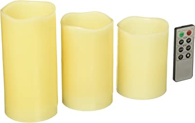 Kole Imports Vanilla Scented Flameless Candles Set with Remote