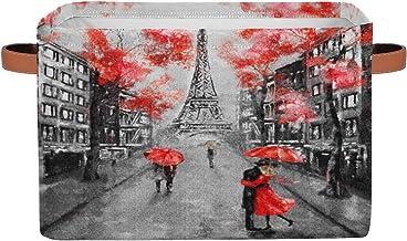 Eiffel Tower Storage Basket Bins Paris France Flower Toys Books Clothes Canvas Storage Box Cubes Rectangular Collapsible w...