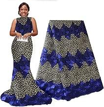 pqdaysun African Lace Fabric Nigerian French Lace Net Fabric Embroidered Fabric African Lace Fabric Swiss 5 Yards for Wedding Party F50742 (Royal Blue, 5 Yards)