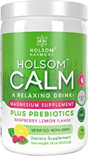 Calm Magnesium Powder, Anti Stress Supplement with Prebiotics (Raspberry Lemon)